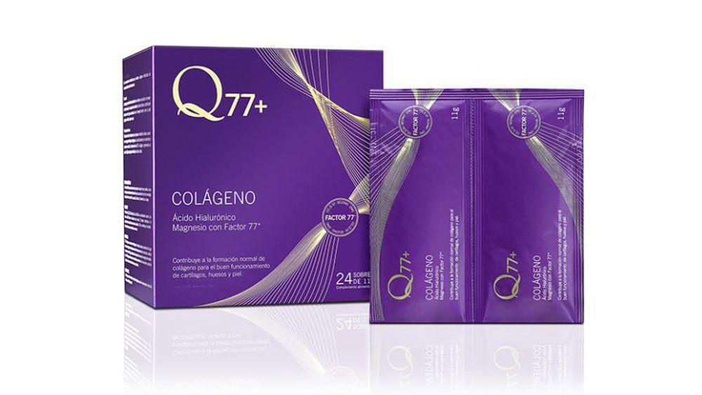 Q77 Colágeno (29 euros/27 sobres). Cada sobre de este suplemento contiene  10 gramos de colágeno.