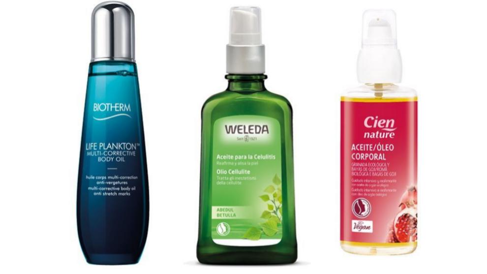 Life Plankton Multi-Corrective Body Oil de Biotherm; Aceite anticelulítico de abedul de Weleda; Aceite corporal de Lidl.