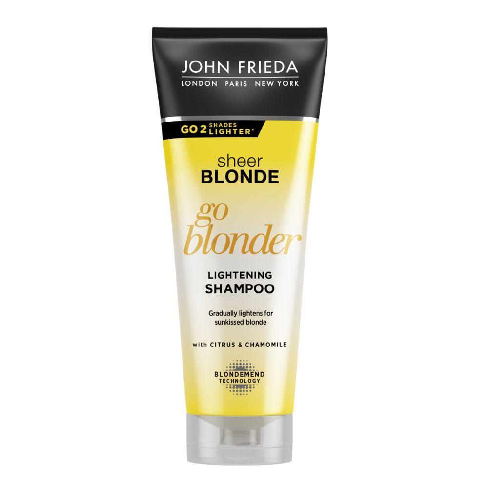Champú aclarante Go Blonder de John Frieda (7,30 euros). Con cítricos y camomila. Apto para todos los tipos de pelo rubios naturales y coloreados.