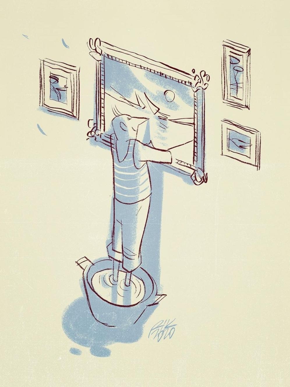 """""""Cultura en casa"""". Ilustrador:  Riccardo Guasco."""
