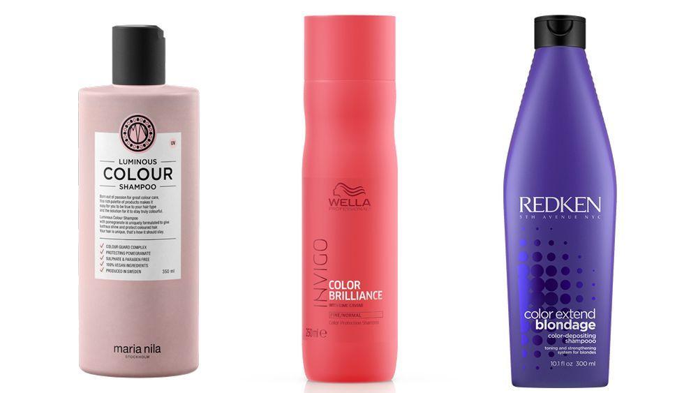 Luminous Color Shampoo de Maria Nila (27 euros); Color Brilliance de la línea Invigo de Wella Professionals (C.P.V); Shampoo Color Extend Blondage de Redken (C.P.V.).