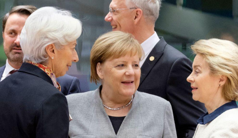 De izda. a dcha., Christine Lagarde, presidenta del Banco Central...
