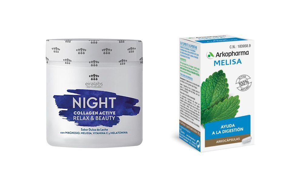 Night Collagen Active de Eiralabs; Cápsulas de melisa de Arkopharma.