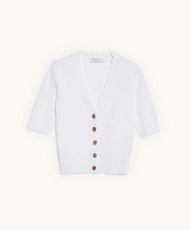 Jersey de canalé corto de Sandro con manga a la altura del codo y botones de fantasía (145 ).