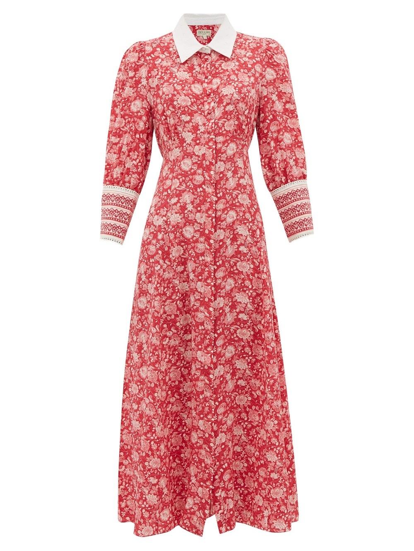 Vestido estampado de seda Calla Rose (616 euros) de la marca Beulah.