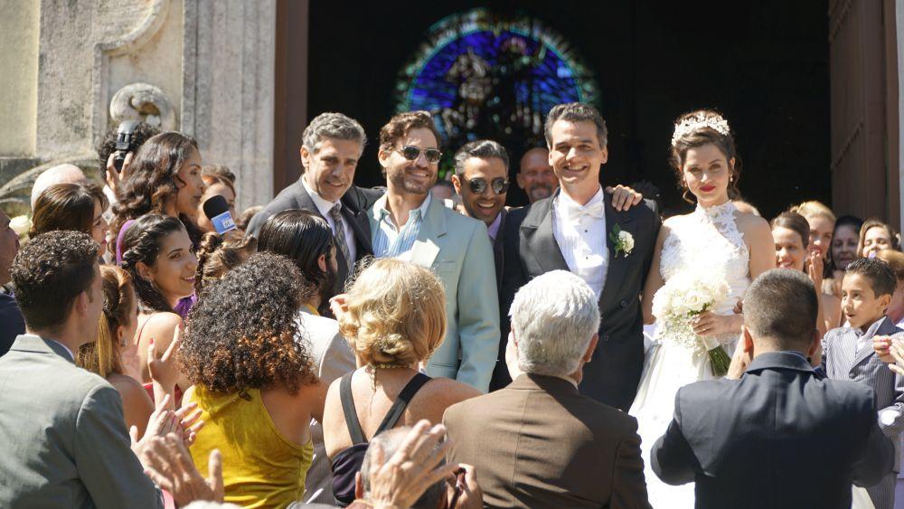 """Leonardo Sbaraglia, Édgar Ramírez, Wagner Moura y Ana de Armas en """"La red avispa""""."""