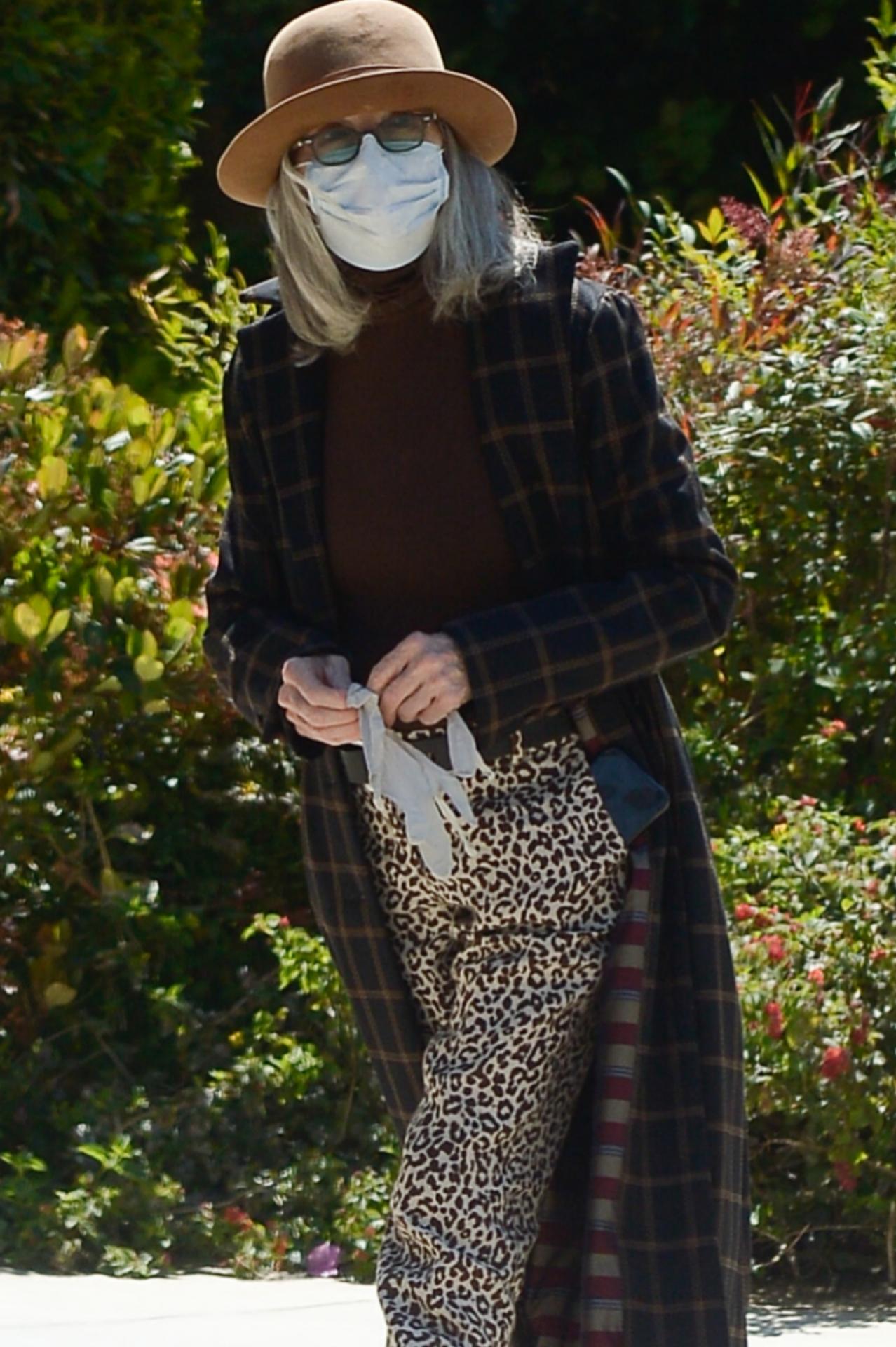 Diane Keaton cumple todas las normas de confinamiento: mascarilla,...