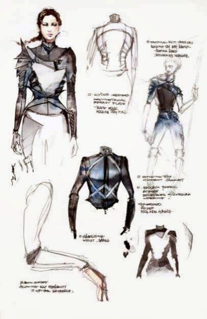Bocetos del vestuario de Jennifer Lawrence
