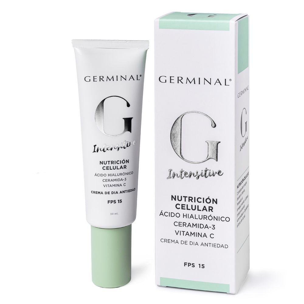Crema antiedad intensitive Global SPF 30 de Germinal (32 euros) con prebióticos, aceite de rosa mosqueta, colágeno y vitamina E.