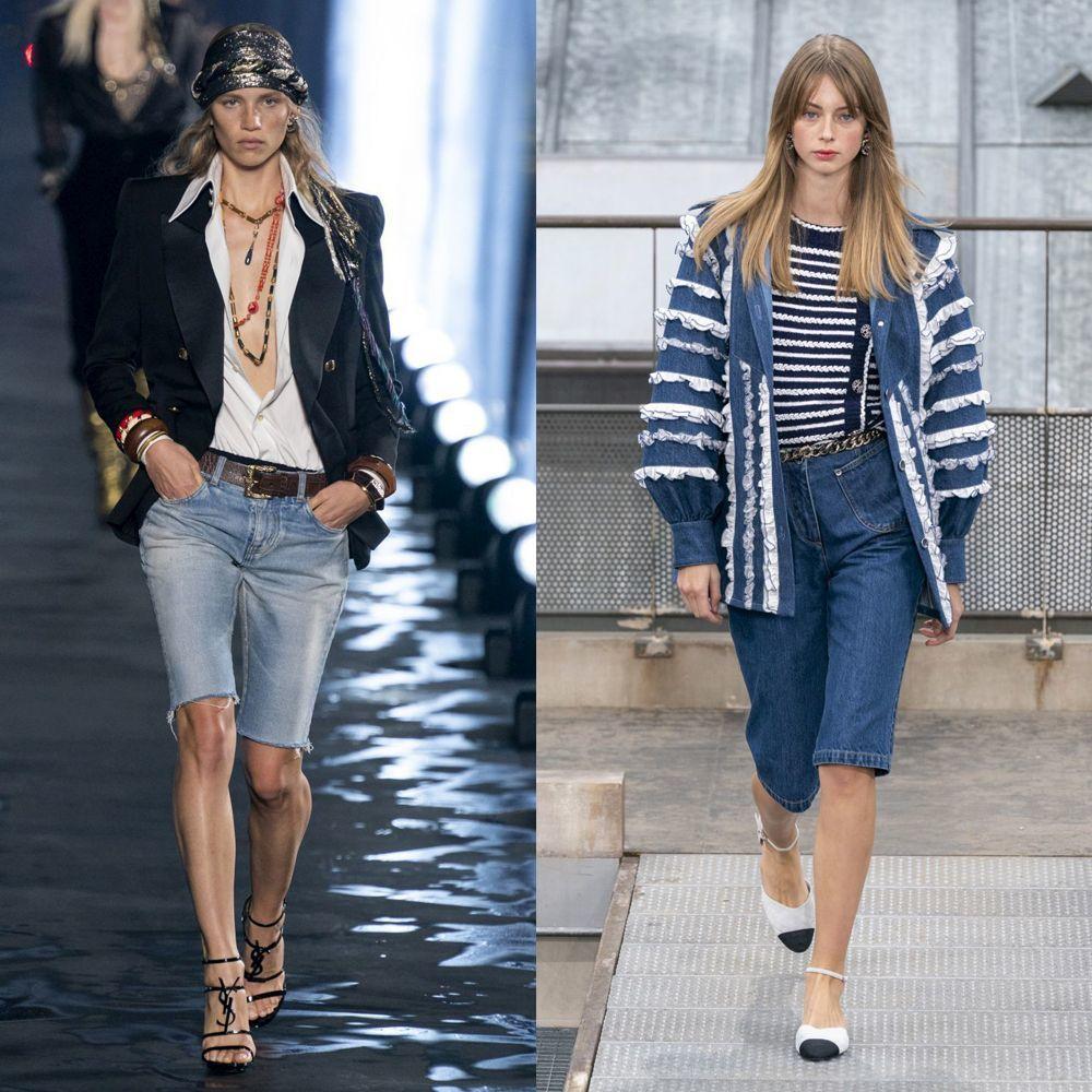 Look de Saint Laurent p/v 2020. Look de Chanel p/v 2020.