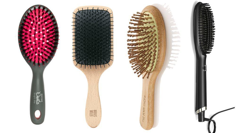 Cepillos Deslía de Beter, Hair & Scalp Massage Brush, cepillo de The Body Shop y cepillo eléctrico Glide de GHD.