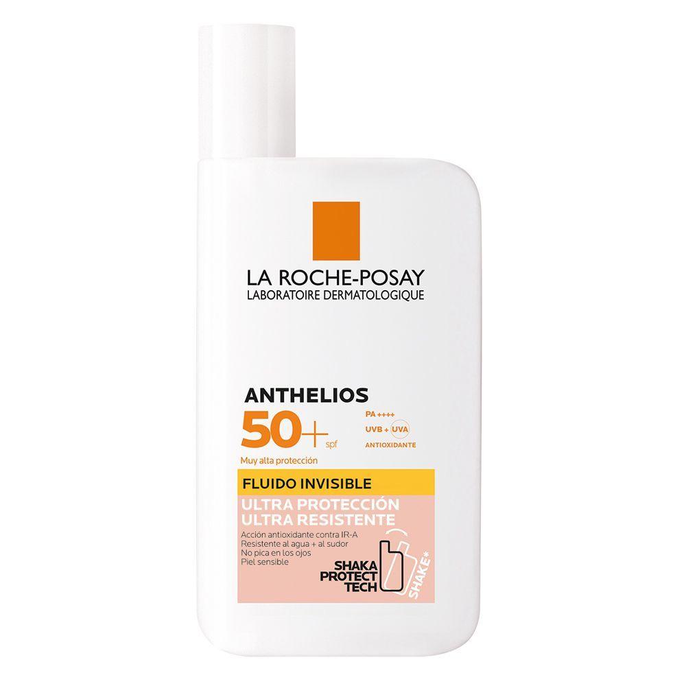 Anthelios Fluido invisible SPF 50  de La Roche Posay con textura ultraligera para proteger la piel del rostro de los rayos UVA UVB IR-A y polución y además aportar un buen tono.