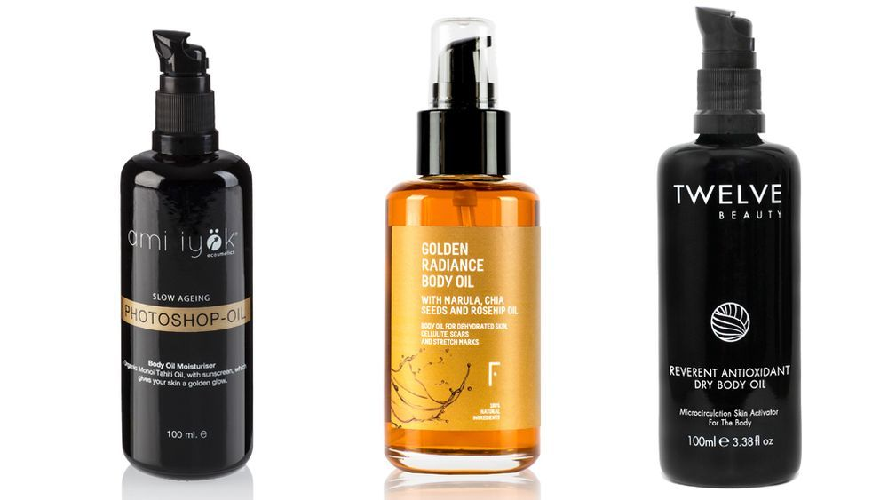 Photoshop Oil de Ami Iyök; Golden Radiance de Freshly Cosmetics y Reverent Antioxidant Dry Body Oil de Twelve Beauty.