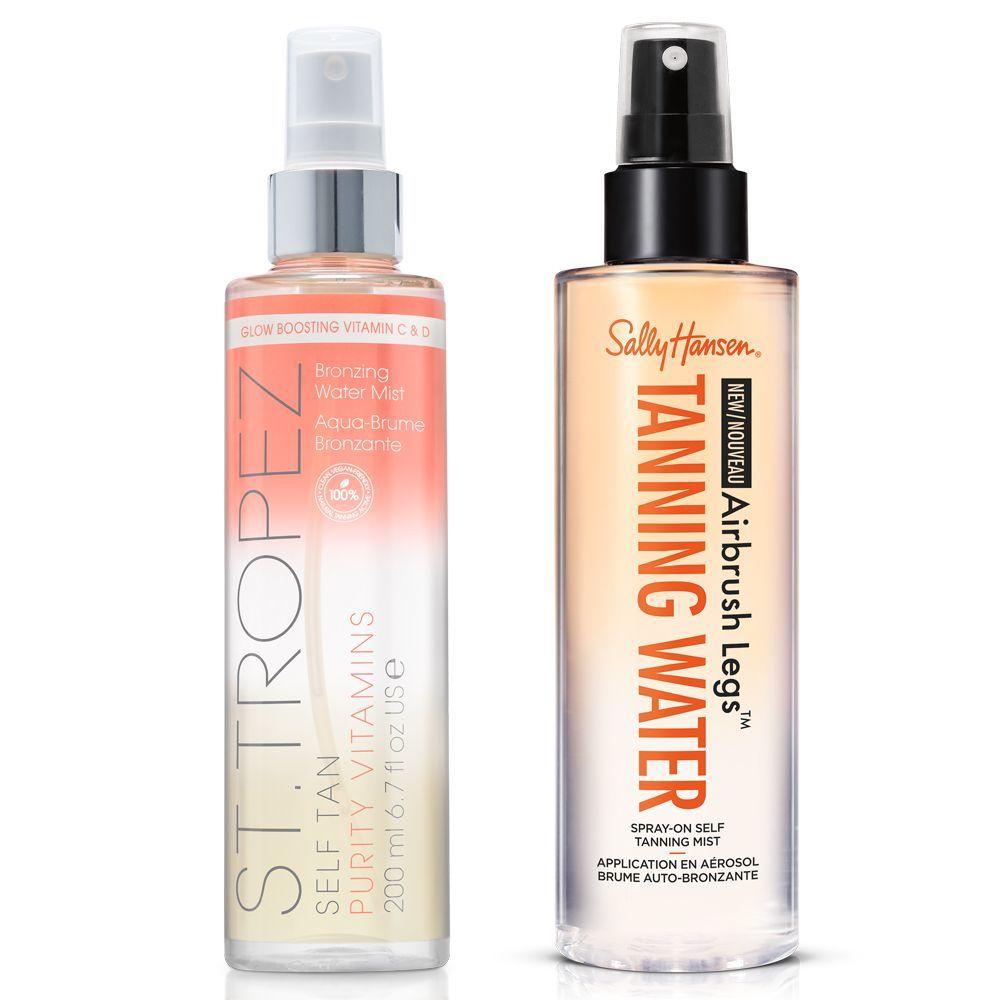 Self Tan Purity Vitamins Body Mist de St. Tropez y Tanning Water de Sally Hansen.