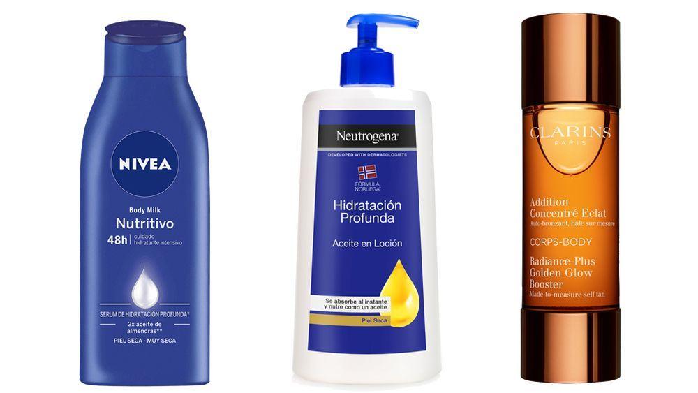Crema Body Milk Nutritivo de Nivea, Aceite en loción de Neutrogena y Addition Éclat Body de Clarins.