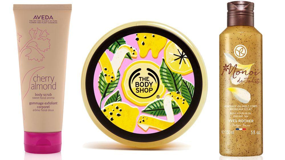 Exfoliante Cherry Almond Body Scrub de Aveda; Exfoliante Zesty Lemon de The Body Shop y exfoliante de Monoï de Tahití de Yves Rocher.