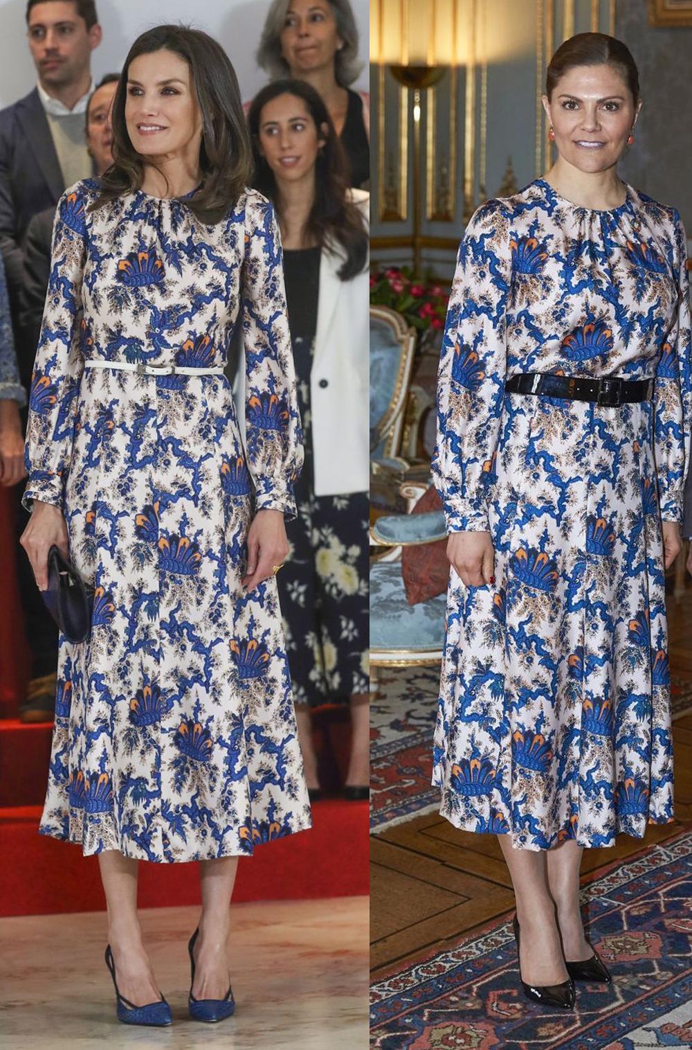 La reina Letizia y Victoria de Suecia con el mismo vestido de Sandro.
