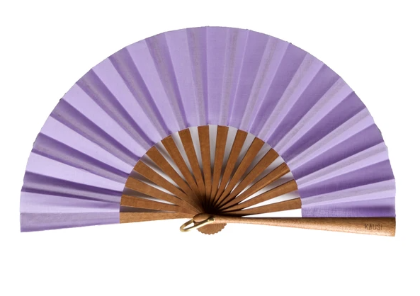 Abanico con varillas de madera de sipo, algodón estampado en el tono lila de la temporada (19cm).