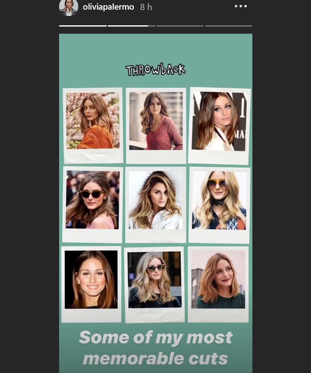 Algunos de los cortes más icónicos de Olivia Palermo recogidos en su propio perfil de Instagram stories.