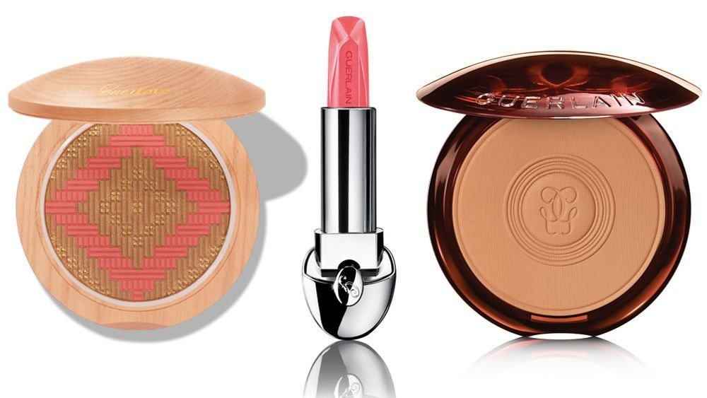 Polvos The Terracotta Collector Brazilian Beach; Barra de labios Rouge G Sheer Shine 677; Polvos Terracotta Matte Medium, de Guerlain.
