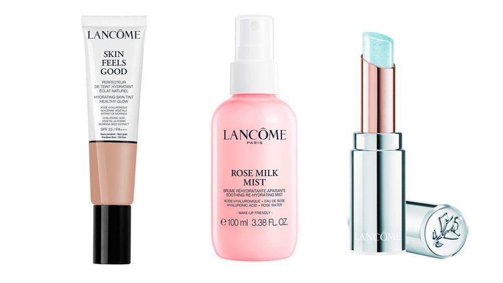 Skin feels good SPF 23; Bruma hidratante Rose Milk SOS Mist; Mademoiselle Balm, todo de Lanc
