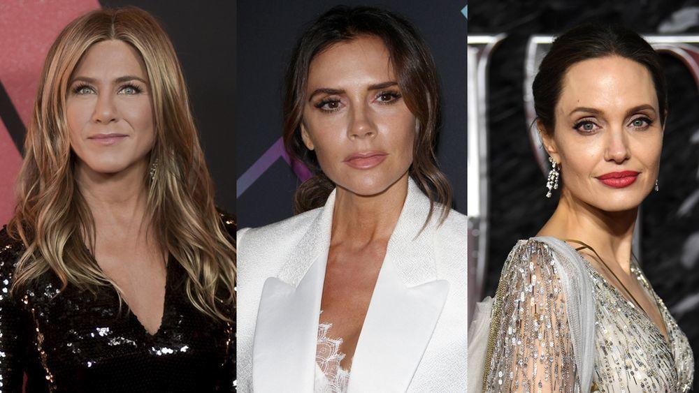 Jennifer Aniston, Victoria Beckham y Angelina Jolie, tres rostros, tres diseños de cejas según el tipo de rostro.