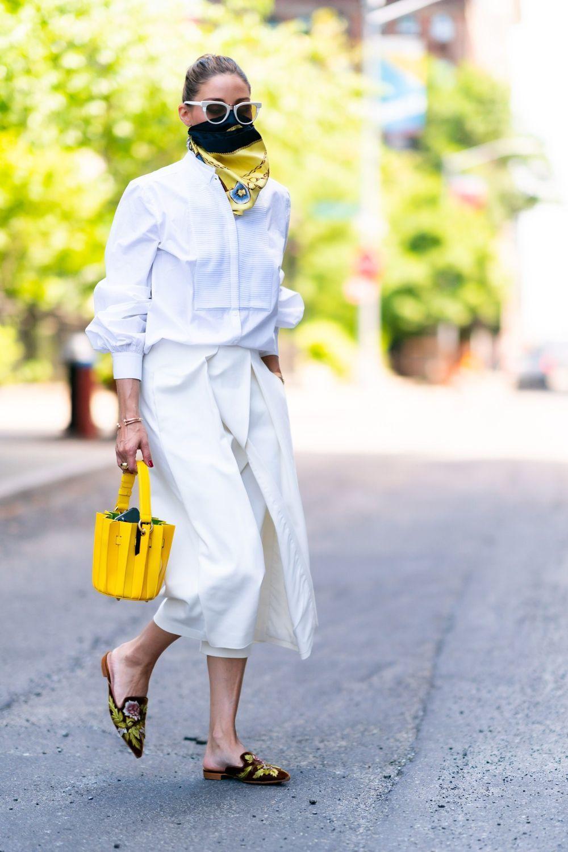 Olivia Palermo con total look en blanco.