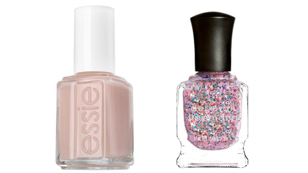 Esmalte de uñas Ballet Slippers de Essie (11,99 euros) en rosa palo para la base; Laca de uñas Candy Shop de Deborah Lippmann (23 euros).