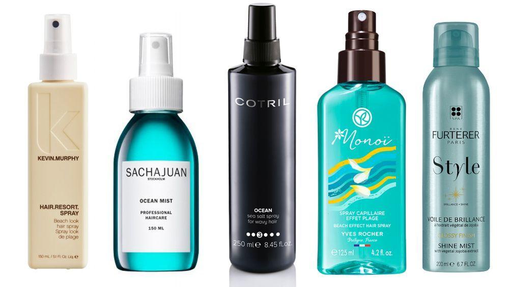 Hair Resort Spray de Kevin Murphy (26,20 euros); Ocean Mist de Sachajuan (13 euros), en www.claudiadipaoloshop.com; Spray con sales del Mar Muerto Ocean de Cotril (16,80 euros); Spray Capilar ondas surferas de Yves Rocher (6,95 euros); Style Velo de brillo de René Furterer (19 euros).