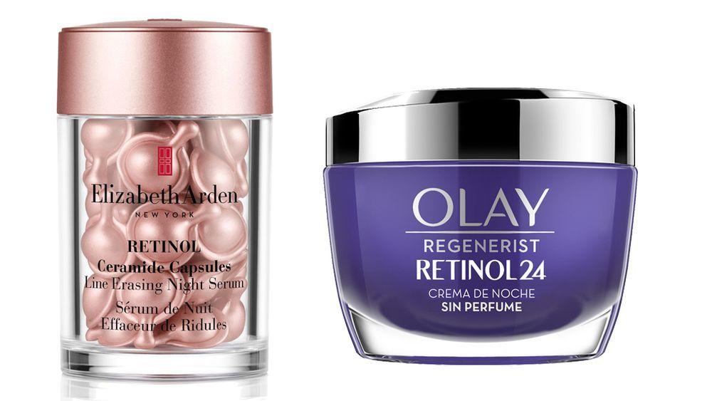 Cápsulas con retinol de Elizabeth Arden (58 euros, 30 cápsulas); Crema de noche retinol 24 de Olay (34,99 euros).