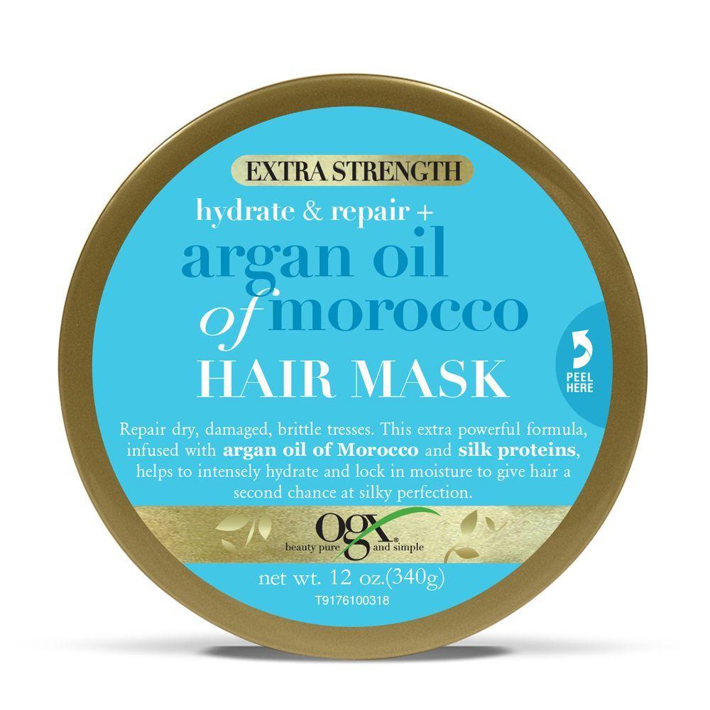 Mascarilla aceite de argán marroquí extra fuerte de OGX (8,90 euros) para nutrir y fortalecer el pelo profundamente.