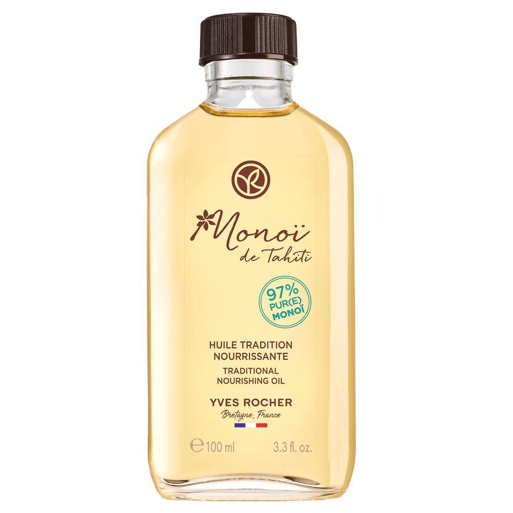 Aceite tradicional nutritivo Monoï de Tahití Yves Rocher (9,95 euros) para proteger el pelo en verano del sol, mascarilla, desenredante o para sellar tus puntas.