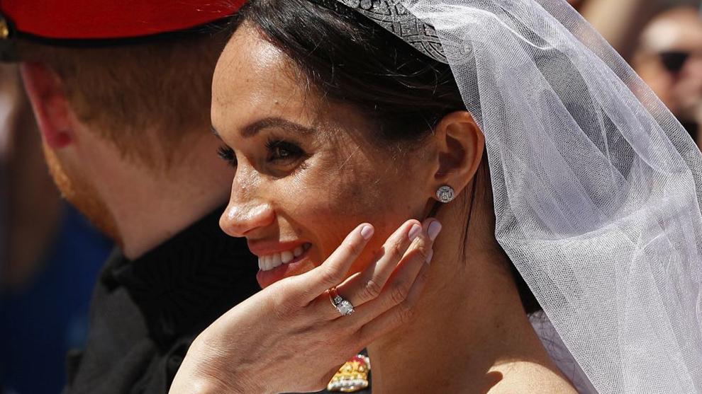Detalle de la manicura de Meghan Markle el día de su boda.