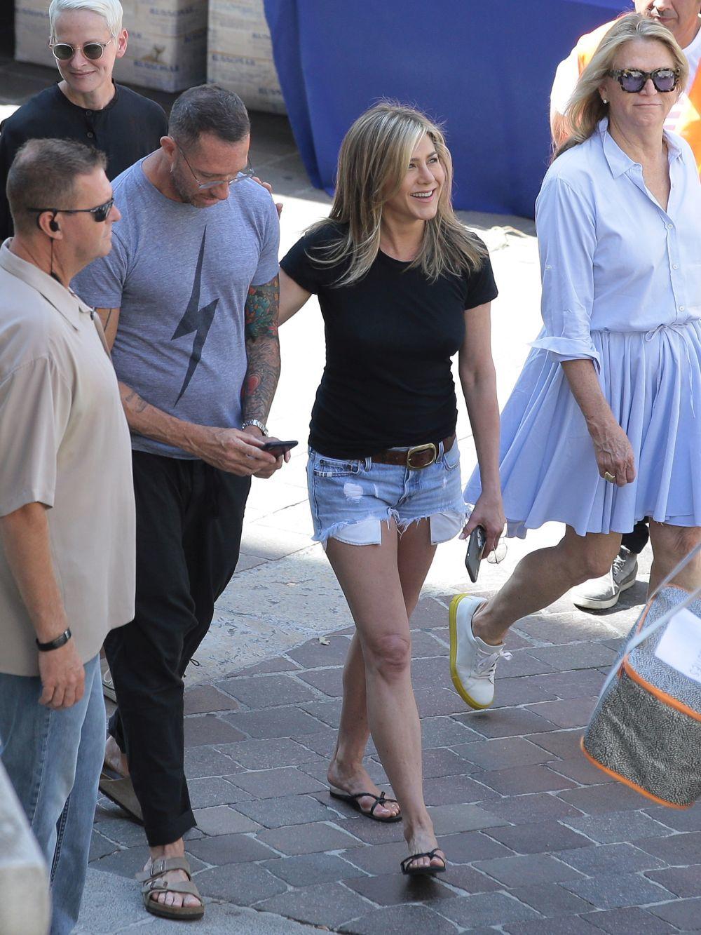 La actriz con unos shorts en denim