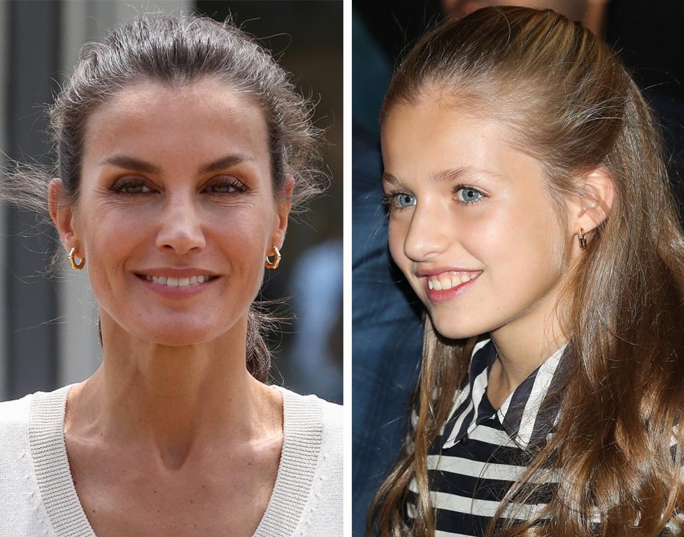 La reina Letizia y la infanta Leonor con endientes de aro de efecto...