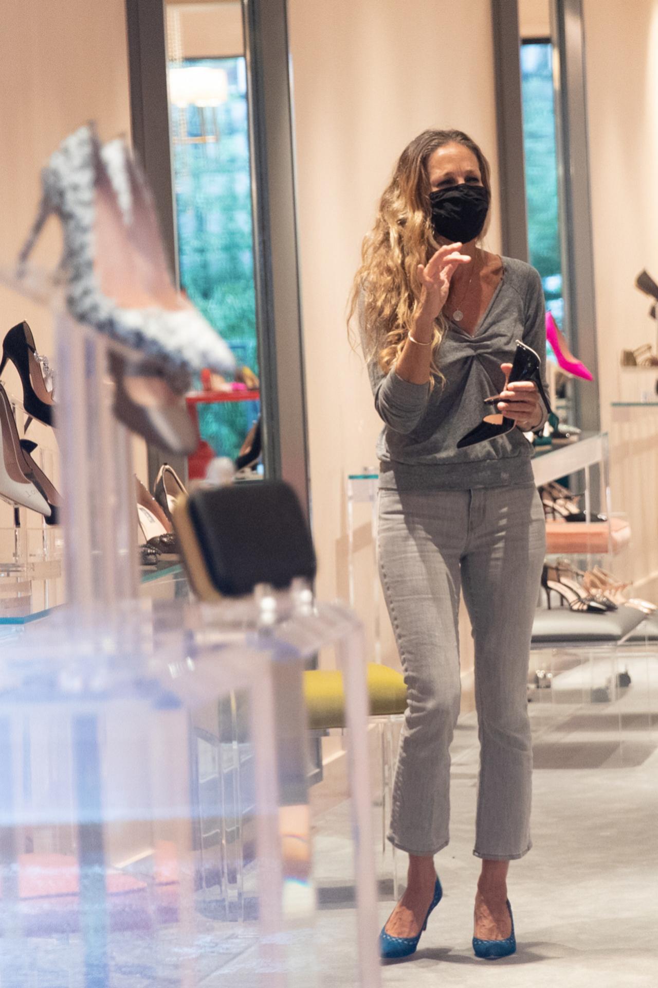 Sarah Jessica Parker en su tienda de zapatos de Manhattan.