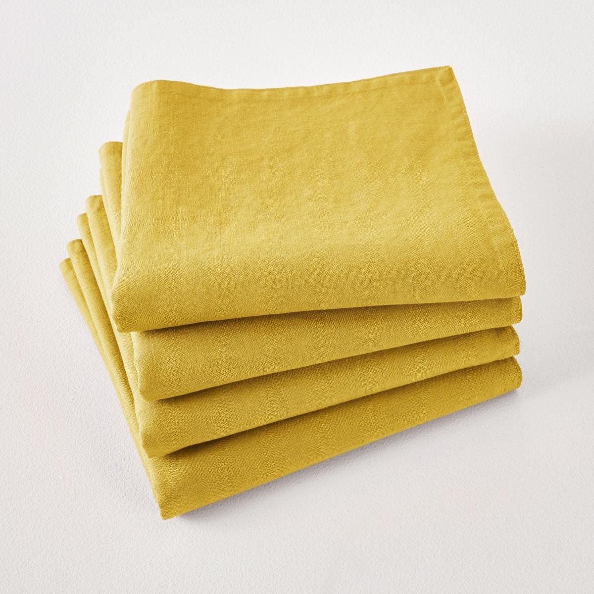 Lote de 4 servilletas de lino lavado Victorine en La Redoute...