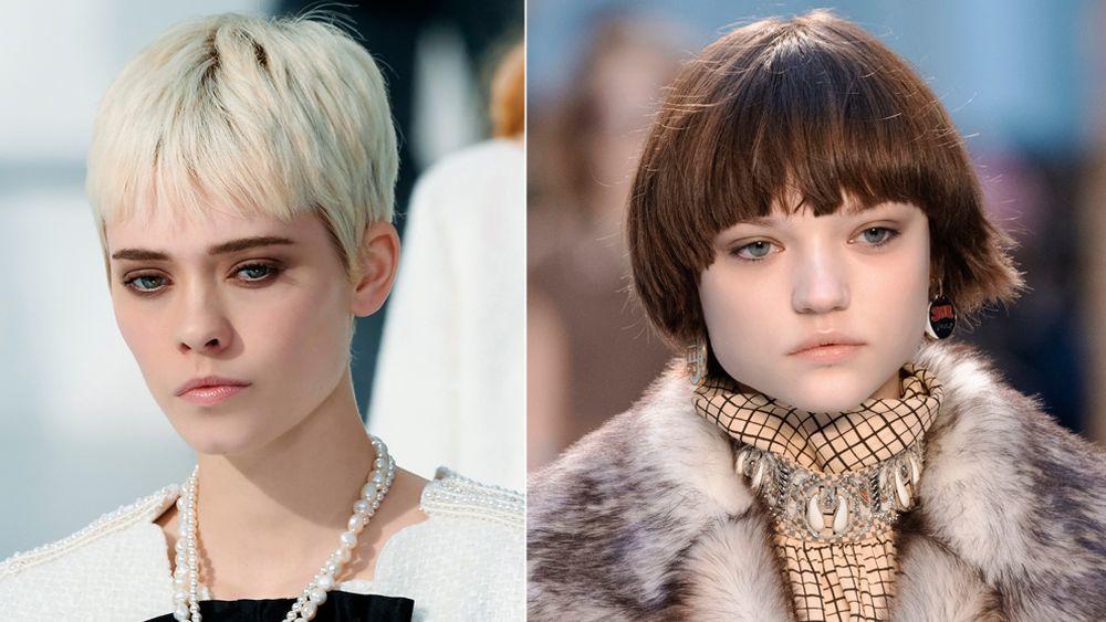 A la izquierda, el pelo corto visto en el desfile de Chanel y a la derecha un corte pixie pero casi bob con flequillo en el desfile de Chloé.