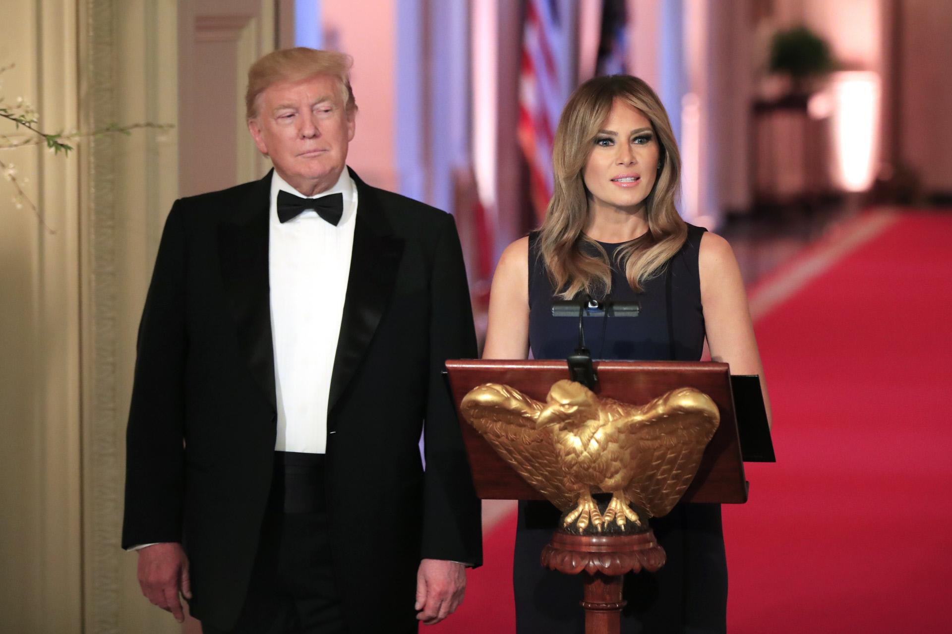 Melania Trump y Donald Trump en una cena en la Casa Blanca, en 2019.