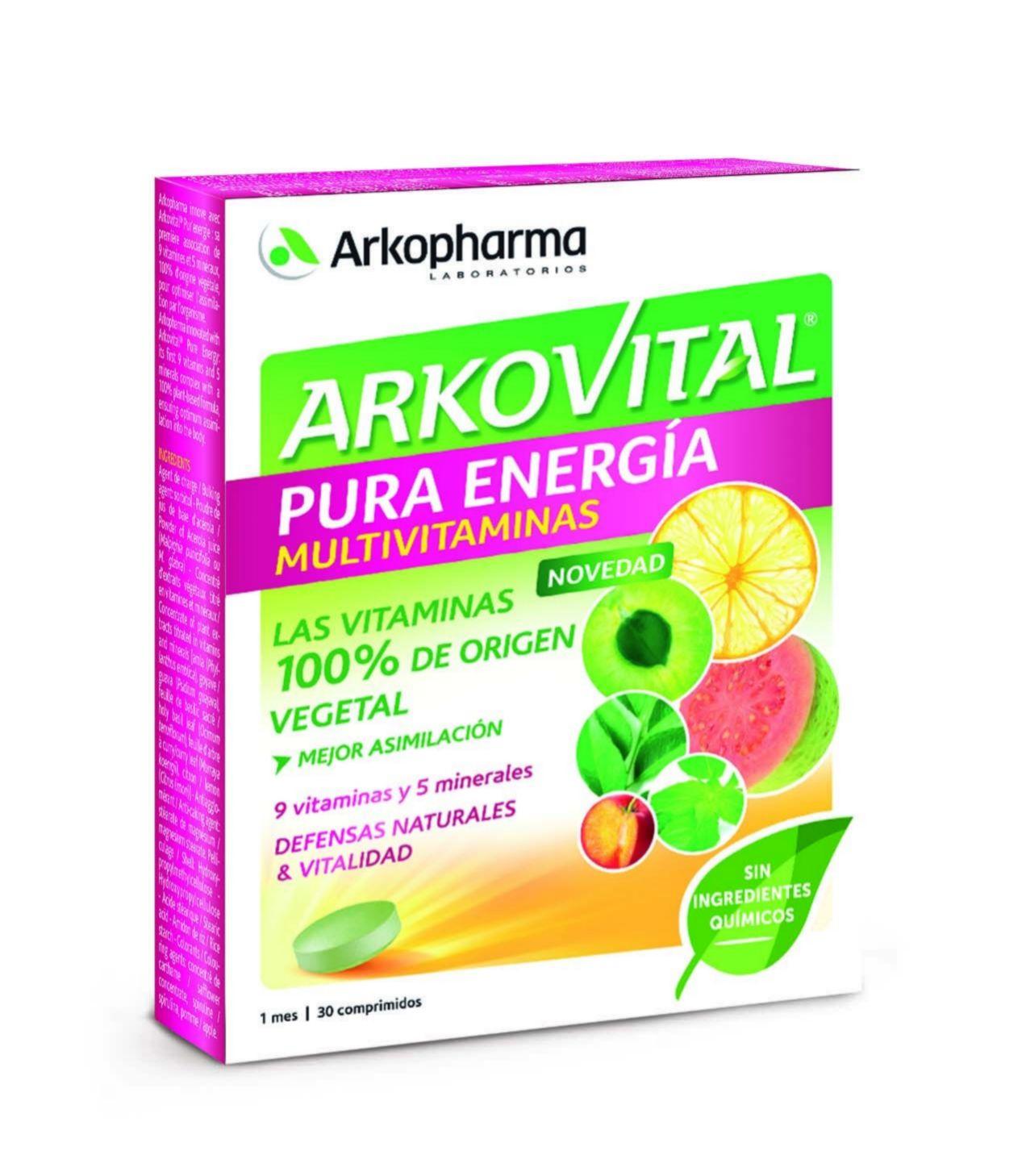 Arkovital Pura Energía, Arkopharma. Con vitaminas 100% de origen natural (13,90 euros).