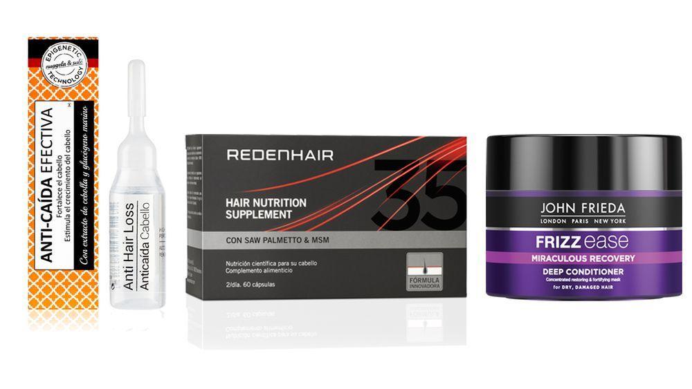 Ampollas anticaída de Nuggela & Sulé (5,40 euros); Hair Nutrition Suplement de Redenhair (42 euros); Mascarilla fortalecedora Miraculous Recovery de John Frieda (8,95 euros).