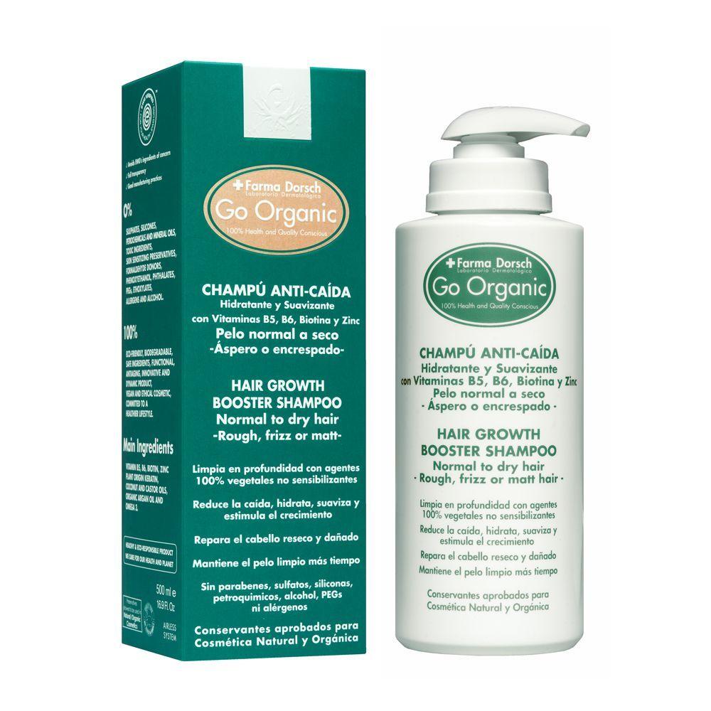 Champú anticaída hidratante Go Organic de Farma Dorsch (46 euros) con vitaminas, biotina y zinc que aumentan la densidad y el grosor del cabello débil.