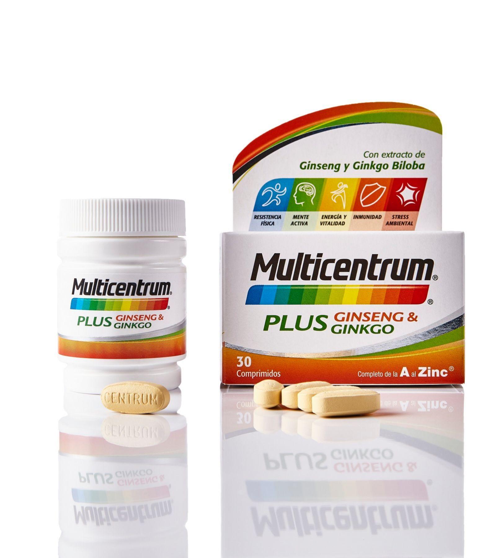 Multicentrum Plus. Con extracto de ginseng y ginkgo biloba (9, 80 euros).