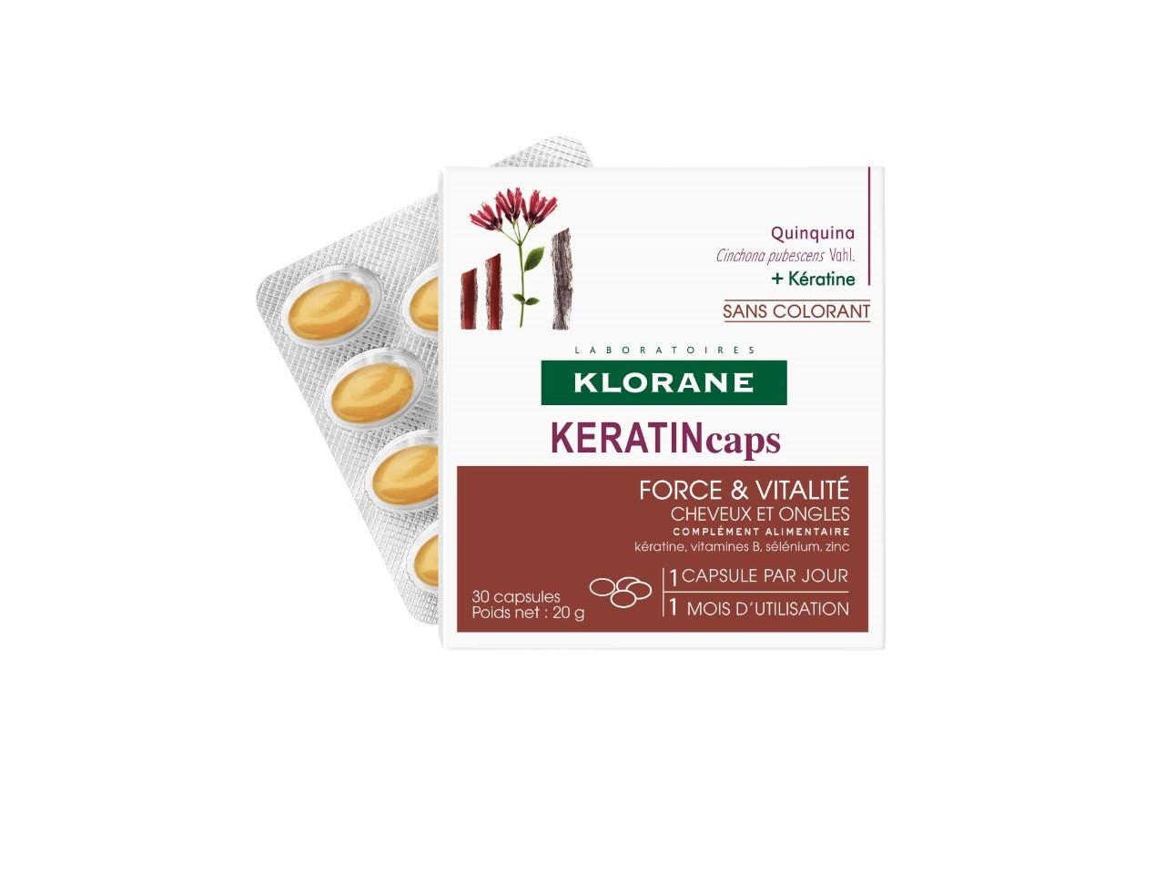 KeratineCaps, klorane. Con extracto de quinina, vitaminas B, zinc,...