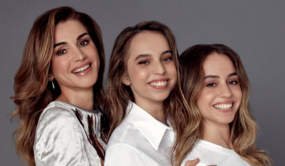 Rania con sus hijas Salma e Imán.