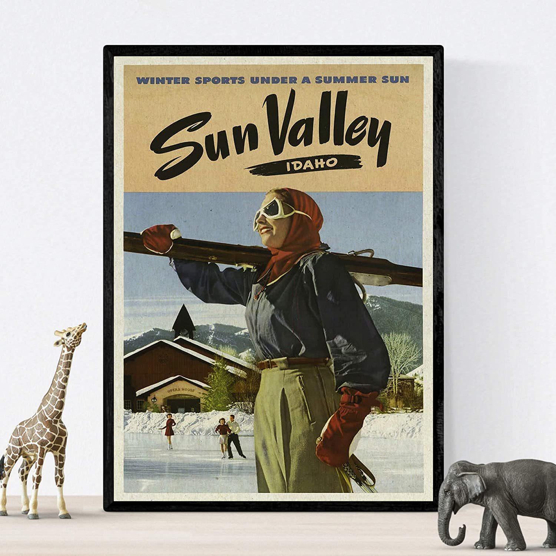 Poster Vintage. Dos láminas Vintage de esquí en USA tamaño A4....