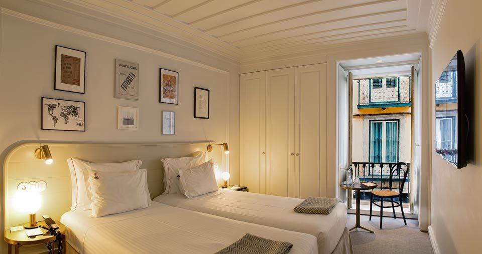 Una de las habitaciones del Pessoa Hotel, en Lisboa