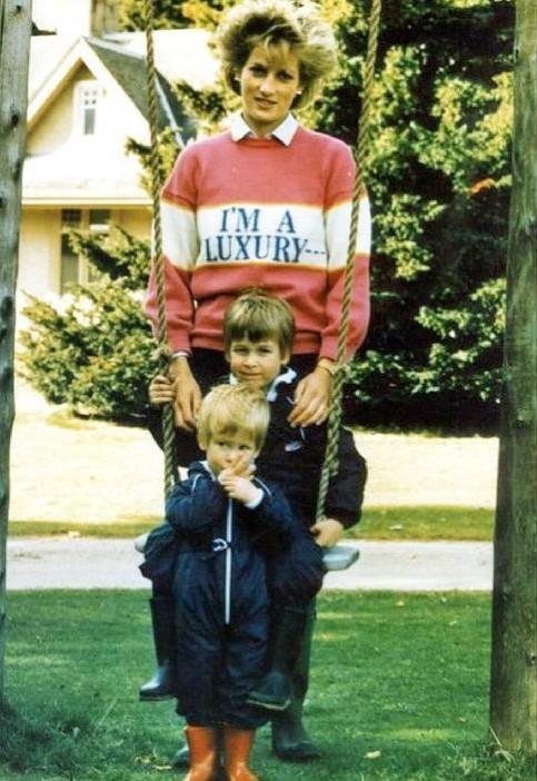 Lady Di con sus hijos William y Harry con el jersey de la firma Gyles