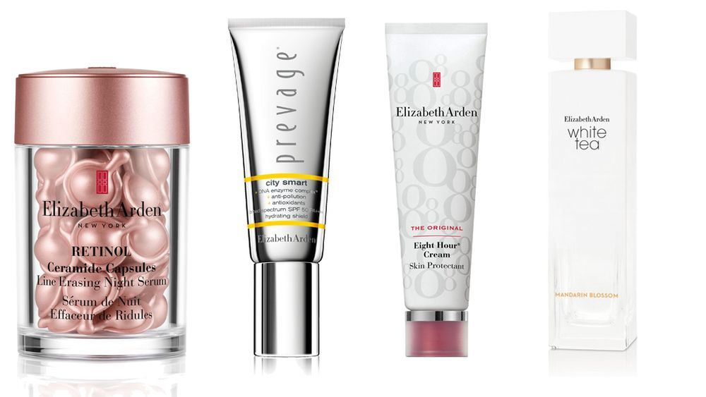 Sérum retinol en cápsulas, Prevage City Smart SPF 50, Eight Hour Cream Skin Protectanty la fragancia White Tea Mandarin Blossom, todo de Elizabeth Arden.