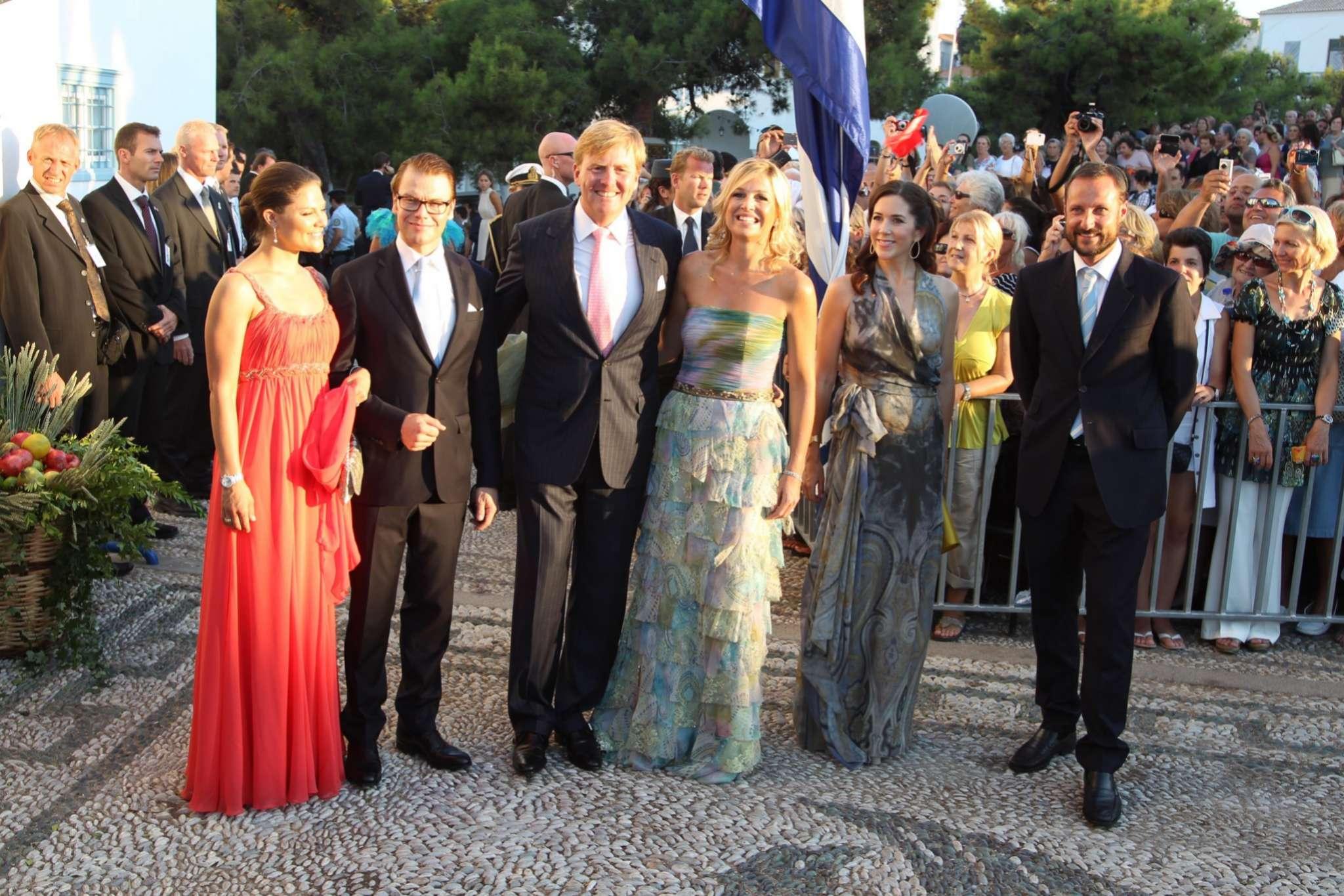 Máxima y Guillermo en Spetses, en la boda de Nicolás de Grecia y Tatiana Blatnik (2010)